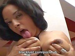 Busty ebony Jazmine Cashmere bathes in cum sprinklers only at BlackLust