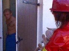 Redhead firewoman sucking hose and more