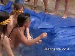 Smoking hot teen girls naked in a pool