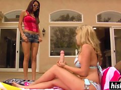 Two babes have fun with toys