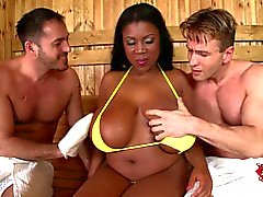Busty black lady Maserati loves group sex with white guys