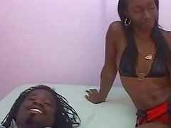 Shaved black pussy gets licked and fucked