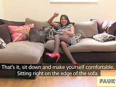 Busty British amateur bangs on casting couch