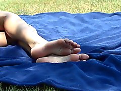Candid college feet at the park 05