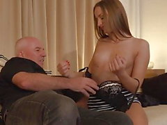 Teen brunette Anna G fucked by old man William