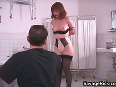 Kinky brunette slut gets tied in rope