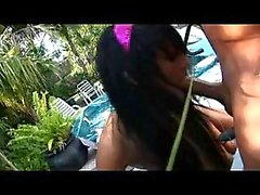 Teen brunette analed poolside