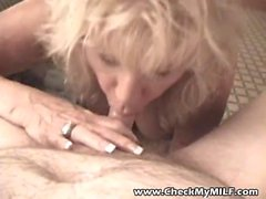 Check My MILF Granny playing with limp cock and giving head
