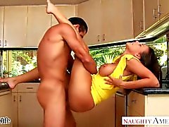 Brunette wife Rachel Starr taking cock in kitchen