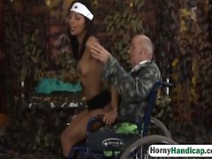 Nurse enjoys handicap man's dick in her shaved pussy