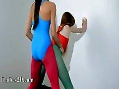 Hairy lesbians in nylon pants coitus