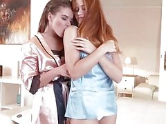 Russian girlfriends making passionate love