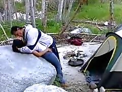 curvy nina mercedez banged on a rock