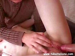 Uncustomary Italian shiela with a lovesome bush gets to climax from a stranger with help form her hubby