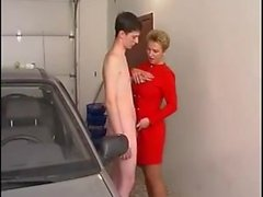 pantyhose milf in the garage