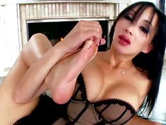 Foot fetish busty oriental masturbates