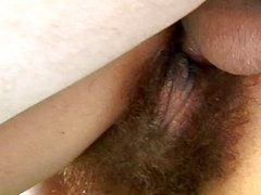 Hairy pussy babe gets hard pounded
