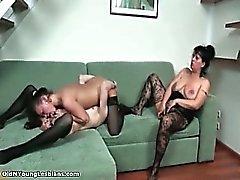 Brunette lesbians get horny licking part4