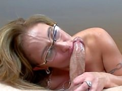Sexy Eva Notty Getting Aaron Wilcox cum all over her face and glasses