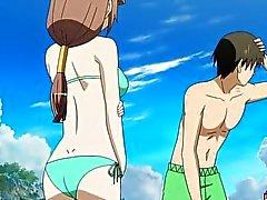 Hentai babe in bikini gets fucked