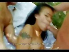 Sweet Thai princess gets two guys to double team her holes