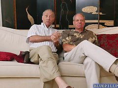 Dolly Little strips for two old men who gladly touch her
