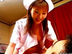 Horny Asian nurse Mari Yamada and two dicks