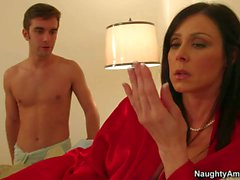 Lingerie clad MILF Kendra Lust seducing a boy