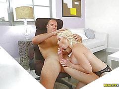 Glamorous golden-haired office sweetheart Bunny group-fucked in her slit