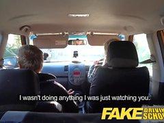 Fake Driving School blonde English student deep creampie