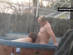 Voyeuring my mom and BF in outdoor pool