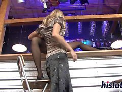 Two sexy babes share a massive rod
