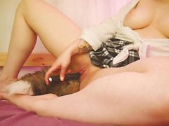 FOXTAIL BUTTPLUG - Kinky student plays with plug and dildo