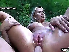 Blonde babe getting her ass fucked hard outdoors