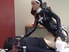 Beautiful femdom latex mistress fucks slave