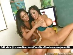Two horny schoolgirls on the desk get their pussy licked