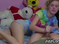 Cutie With Pig Tails Jerks Cock