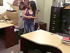 Broke latina undresses for cash