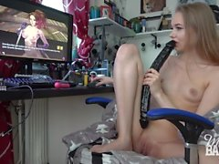 Missy gets horny playing adult game
