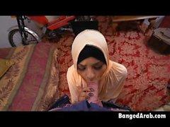 Arab Beauty Down On Her Knees Sucking On Dat White Shaft