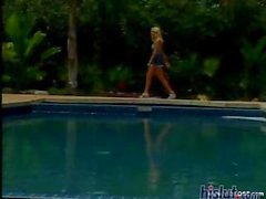 Hannah is a sexy young blonde cutie that eats his cock and gets an ass fucking by the pool
