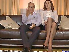 Glam british couple invite schoolgirl ffm