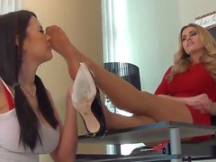 secretary smelling feet