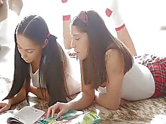Cute Fantina and Betty after school threesome