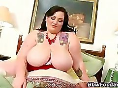 Hungry bbw takes cock after eating