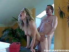 Teen Nicole suck and ride an old dick