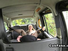 Blonde in pantyhose bangs in cab