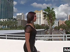 Tattooed chick takes off the raiment outdoors