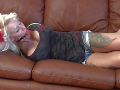 Couch_hogtied_tattoo girl