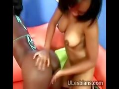 Two black kinky lesbos please each other having oral sex